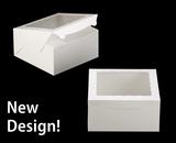 """245 - 10"""" x 10"""" x 5"""" White/White with Window, Lock & Tab Box With Lid"""