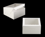 "245 - 10"" x 10"" x 5"" White/White with Window, Lock & Tab Box With Lid. A30"
