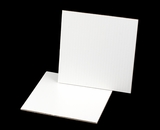 2452 - 9 inch White Cake Square, Coated Corrugated Cake Board with Feather Cut Edges