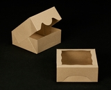 "2506 - 6"" x 6"" x 2 1/2"" Brown/Brown with Window, Timesaver Box With Lid. A08"