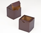 "2831 - 4"" x 4"" x 4"" Chocolate/Brown with Window, Lock & Tab Box With Lid. B08"