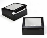 "2832 - 10"" x 10"" x 4"" Black/White with Window, One Piece Lock & Tab Box With Lid"