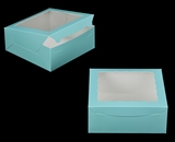 "2833 - 10"" x 10"" x 4"" Diamond Blue/White with Window, Lock & Tab Box With Lid. A26"