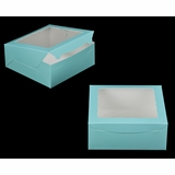 "2833 - 10"" x 10"" x 4"" Diamond Blue/White with Window, Lock & Tab Box With Lid"