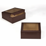 "2834 - 10"" x 10"" x 4"" Chocolate/Brown with Window, Lock & Tab Box With Lid"