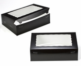 "2873 - 14"" x 10"" x 4"" Black/White with Window, Lock & Tab Box With Lid. A32"