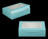"2874 - 14"" x 10"" x 4"" Diamond Blue/White Lock & Tab Quarter Sheet Cake Box with Window"