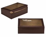 "2875 - 14"" x 10"" x 4"" Chocolate/Brown with Window, Lock & Tab Box With Lid. A32"