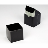 "2880 - 4"" x 4"" x 4"" Black/White without Window, Lock & Tab Box With Lid"