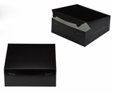 "2883 - 10"" x 10"" x 4"" Black/White without Window, Lock & Tab Box With Lid. A27"