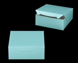 "2884 - 10"" x 10"" x 4"" Diamond Blue/White without Window, Lock & Tab Box With Lid. A27"