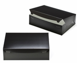 "2886 - 14"" x 10"" x 4"" Black/White without Window, Lock & Tab Box With Lid. A35"