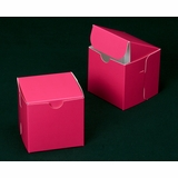 "2909 - 4"" x 4"" x 4"" Pink/White without Window, Lock & Tab Box With Lid"