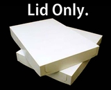 "291 - 19"" x 14"" x 2"" White/Brown Lock & Tab Box Lid Only, without Window, 50 COUNT"