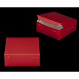 "2917 - 10"" x 10"" x 4"" Red/White without Window, Lock & Tab Box With Lid"