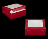 "2918 - 10"" x 10"" x 4"" Red/White with Window, Lock & Tab Box With Lid. A24"