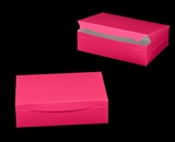 "2924 - 14"" x 10"" x 4"" Pink/White Lock & Tab Quarter Sheet Cake Box without Window"