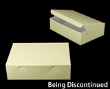 "2926 - 14"" x 10"" x 4"" Butter Cream/White without Window, Lock & Tab Box With Lid. A35"