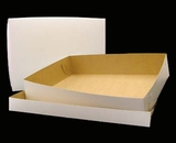 "292x291 - 19"" x 14"" x 4""  White/Brown Lock & Tab Box Set, without Window, 50 COUNT. A19xA15"