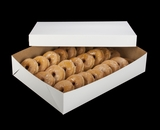 """292x291 - 19"""" x 14"""" x 4"""" White/Brown Lock & Tab Donut Box Set, without Window, 50 COUNT"""