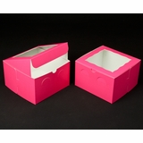 "2938 - 8"" x 8"" x 5"" Pink/White with Window, Lock & Tab Box With Lid"