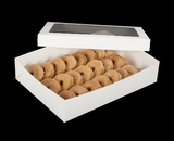 "294x293 - 19"" x 14"" x 4"" White/White Lock & Tab Donut Box Set with Window, 50 COUNT"