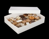 "294x397 - 19"" x 14"" x 4"" White/White Lock & Tab Pastry Box Set without Window, 50 COUNT"