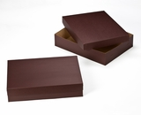 "3045x3048 - 19"" x 14"" x 4"" Chocolate Brown/Brown Lock & Tab Half Sheet Cake Box Set without Window, 50 COUNT"