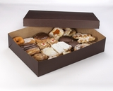"3045x3048 - 19"" x 14"" x 4"" Chocolate/Brown Lock & Tab Pastry Box Set without Window, 50 COUNT"