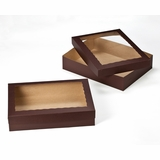"3045x3049 - 19"" x 14"" x 4""  Chocolate Brown/Brown Lock & Tab Box Set with Window, 50 COUNT"