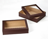 "3045x3049 - 19"" x 14"" x 4"" Chocolate Brown/Brown Lock & Tab Half Sheet Cake Box Set with Window, 50 COUNT"