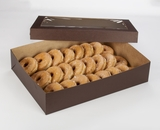 "3045x3049 - 19"" x 14"" x 4""  Chocolate/Brown Lock & Tab Donut Box Set with Window, 50 COUNT"
