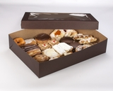 "3045x3049 - 19"" x 14"" x 4""  Chocolate/Brown Lock & Tab Pastry Box Set with Window, 50 COUNT"