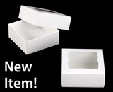 "3060x3488 - 4 oz Candy Box Set 4"" x 4"" x 1 3/4"" White/White Simplex Box Set, with Window"
