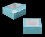 "3228 - 6"" x 6"" x 2 1/2"" Diamond Blue/White with Window, Lock & Tab Box With Lid. A09"