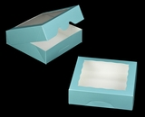 "3230 - 9"" x 9"" x 2 1/2"" Diamond Blue/White with Window, Timesaver Box With Lid. A19"