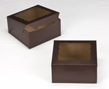"3235 - 8"" x 8"" x 4"" Chocolate/Brown with Window, Lock & Tab Box with Lid. A14"