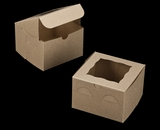 "3236 - 6"" x 6"" x 4"" Brown/Brown with Window, Lock & Tab Box With Lid"