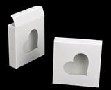 "3237 - 4 3/8"" x 4 3/8"" x 1"" White/White with Heart Window Reverse Tuck Box"
