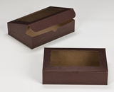 "3239 - 10"" x 7"" x 2 1/2"" Chocolate/Brown with Window, Lock & Tab Box With Lid. A15"
