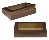 "3240 - 14"" x 10"" x 2 1/2"" Chocolate/Brown with Window, Lock & Tab Box With Lid. A22"