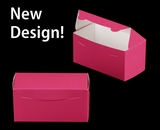 """3243 - 8"""" x 4"""" x 4"""" Pink/White without Window, One Piece Lock & Tab Box With Lid"""