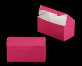 "3243 - 8"" x 4"" x 4"" Pink/White without Window, One Piece Lock & Tab Box With Lid. A15"