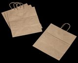 3250 - Take Out Kraft Shopping Bag with Handle 14 x 10 x 15 1/2 - 100ct. A21