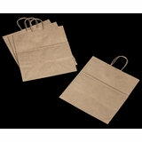 """3250 - Take Out Kraft Shopping Bag with Handle 14"""" x 10""""x 15 1/2"""" - 100ct"""