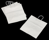 3251 - Take Out White Shopping Bag with Handle  14 x 10 x 15 1/2 - 100ct. A23