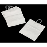 """3251 - Take Out White Shopping Bag with Handle  14"""" x 10"""" x 15 1/2"""" - 100ct"""