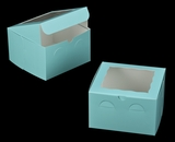 "3273 - 8"" x 8"" x 5"" Diamond Blue/White with Window, Lock & Tab Box With Lid. A24"