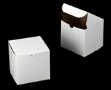 "3276 - 6"" x 6"" x 6"" White/Brown without Window, Lock & Tab Box With Lid. A26"