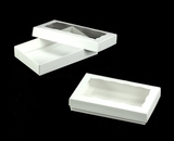 "3291x3290 - 1/2# Candy Box Set White/White 7"" x 4 1/2"" x 1 1/4"" Simplex Box Set, with Window"